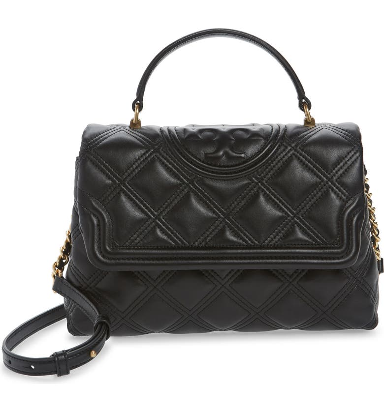 TORY BURCH Fleming Top Handle Quilted Leather Satchel, Main, color, BLACK