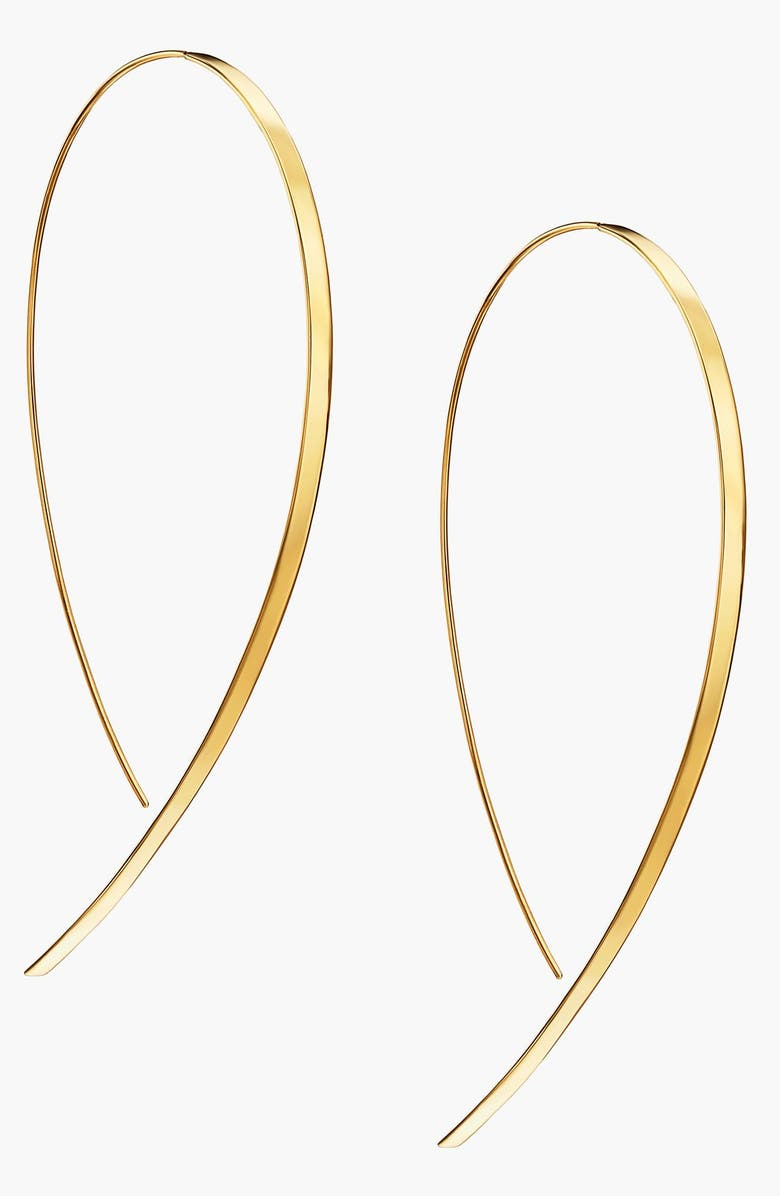 LANA JEWELRY 'Hooked On Hoop' Large Flat Earrings, Main, color, 710