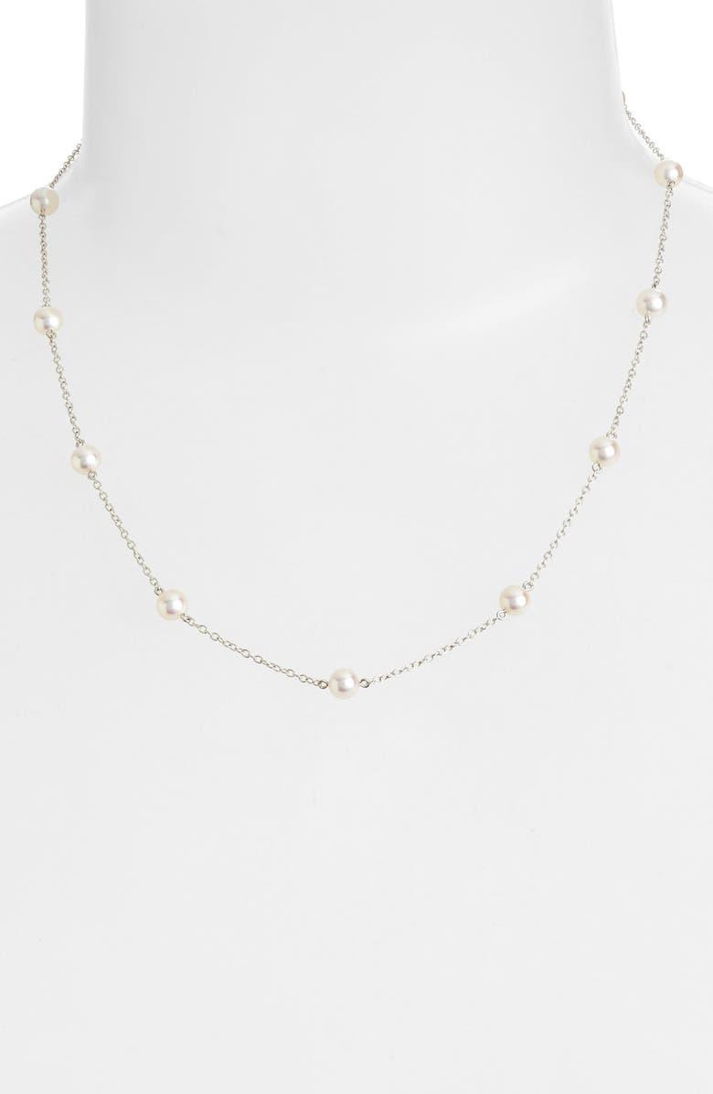 MIKIMOTO Chain & Pearl Necklace, Main, color, NO COLOR
