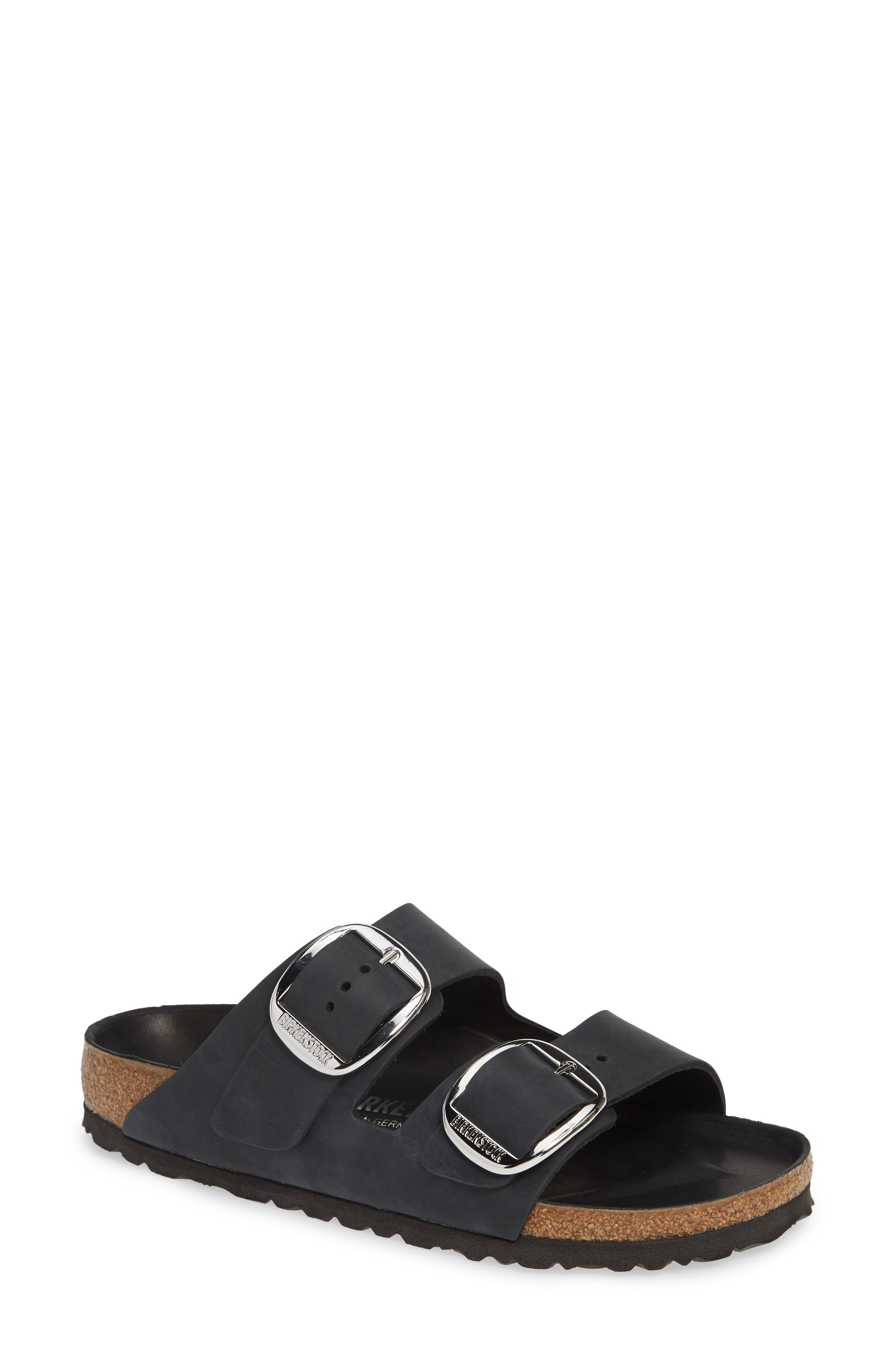 ,                             Arizona Big Buckle Slide Sandal,                             Main thumbnail 1, color,                             BLACK OILED LEATHER