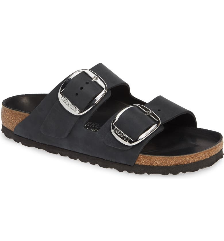 BIRKENSTOCK Arizona Big Buckle Slide Sandal, Main, color, BLACK OILED LEATHER