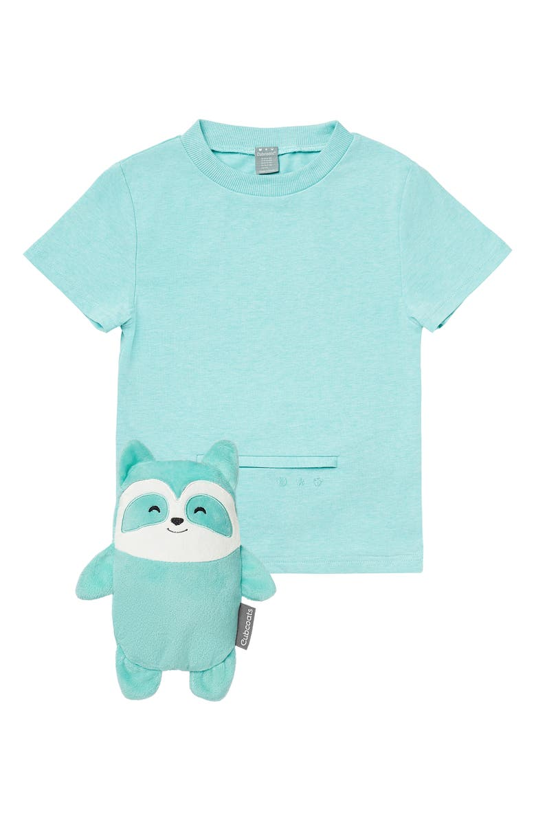CUBCOATS Rekka the Raccoon 2-in-1 Stuffed Animal T-Shirt, Main, color, MINT MARL