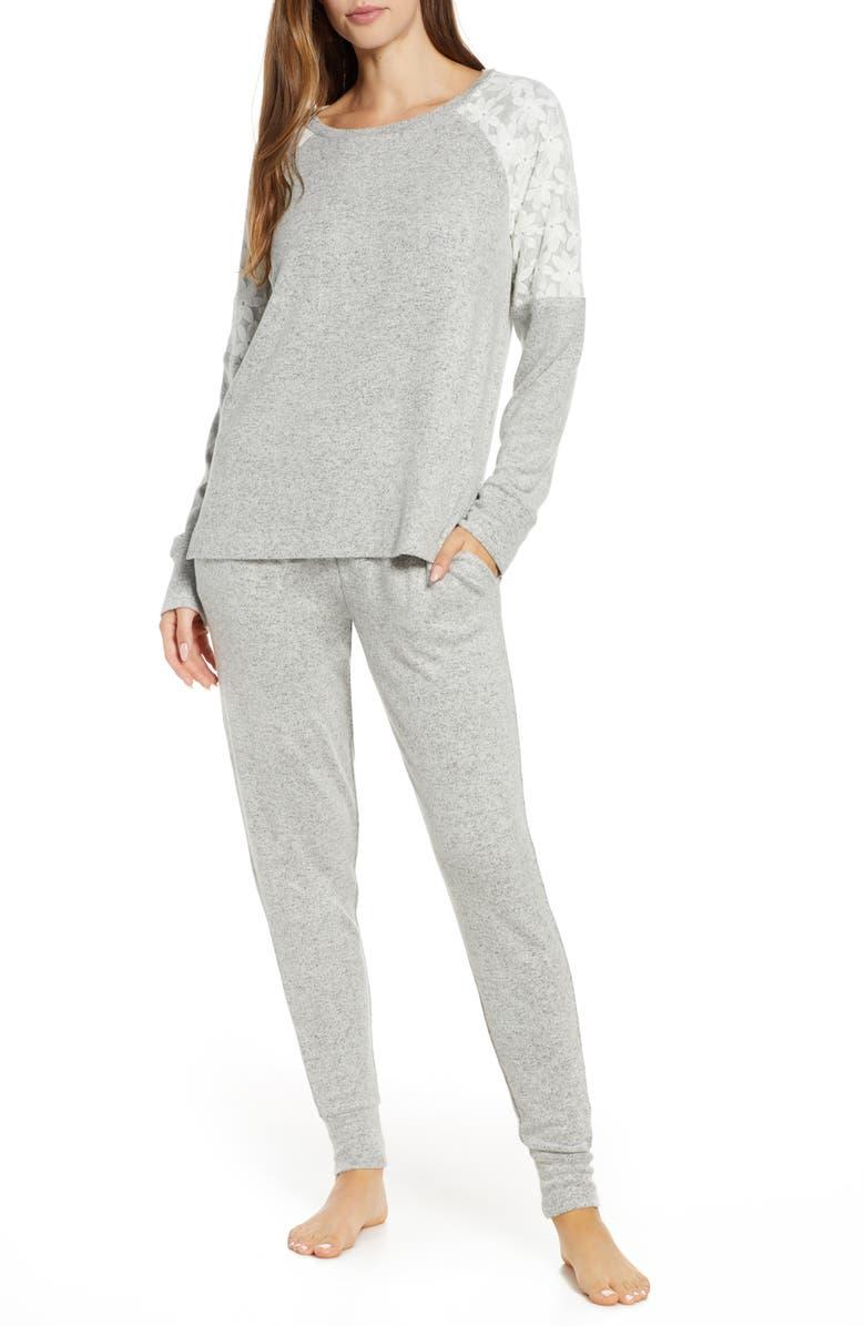FLORA NIKROOZ Genna Pajamas, Main, color, HEATHER GREY