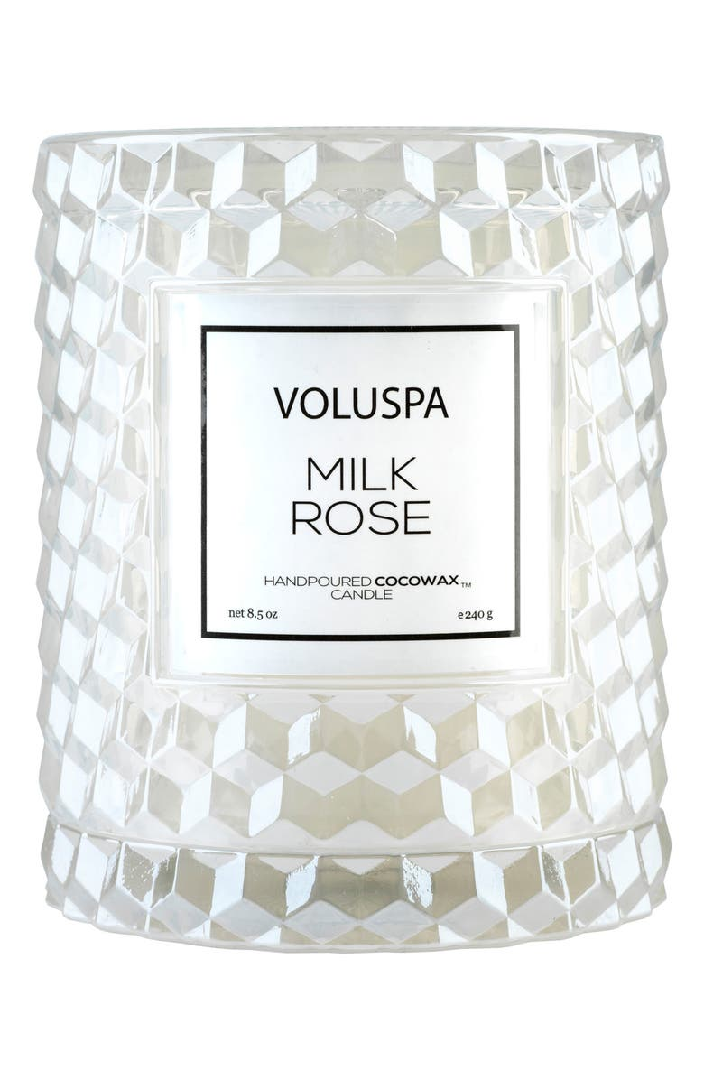 VOLUSPA Roses Icon Cloche Cover Candle, Main, color, MILK ROSE