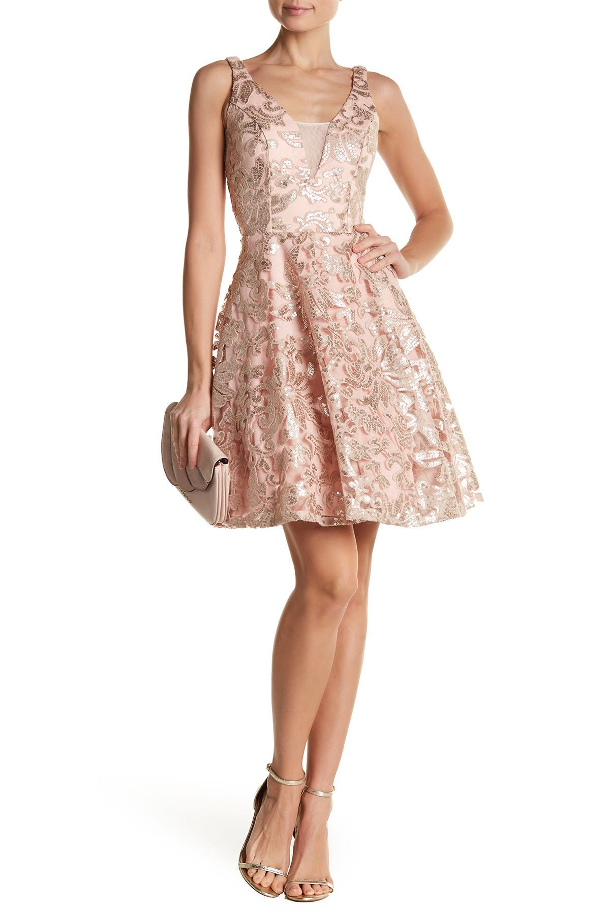 Image of Marina Embroidered Mesh Fit & Flare Dress