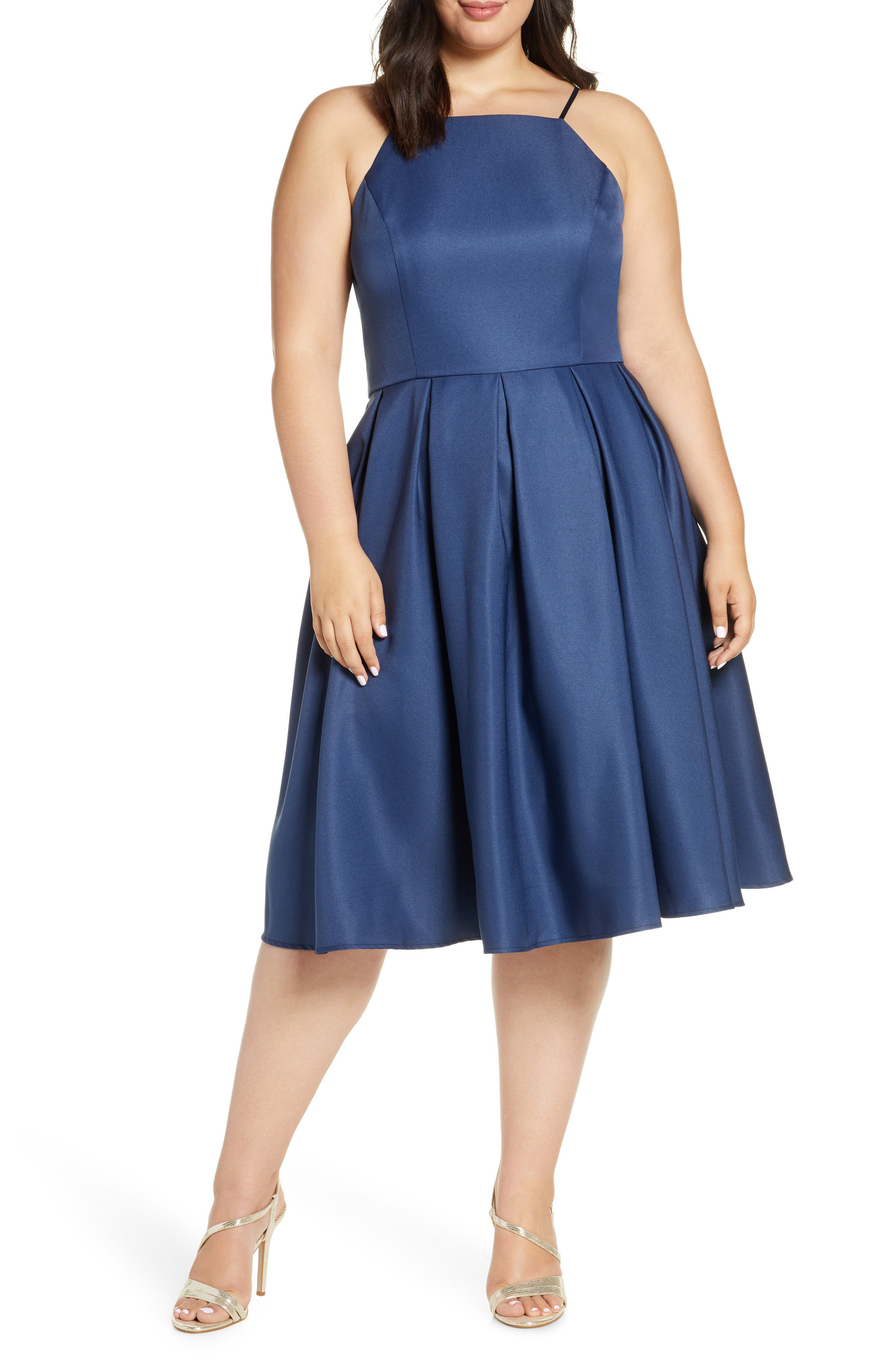 Plus Size Chi Chi London Cassandra Satin Cocktail Dress, Blue