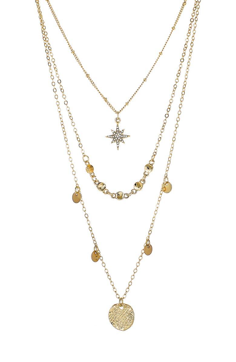 PANACEA Discs Pendant Layered Necklace, Main, color, GOLD