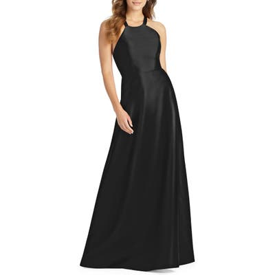 Plus Size Alfred Sung Lace-Up Back Sateen Twill Gown, Black