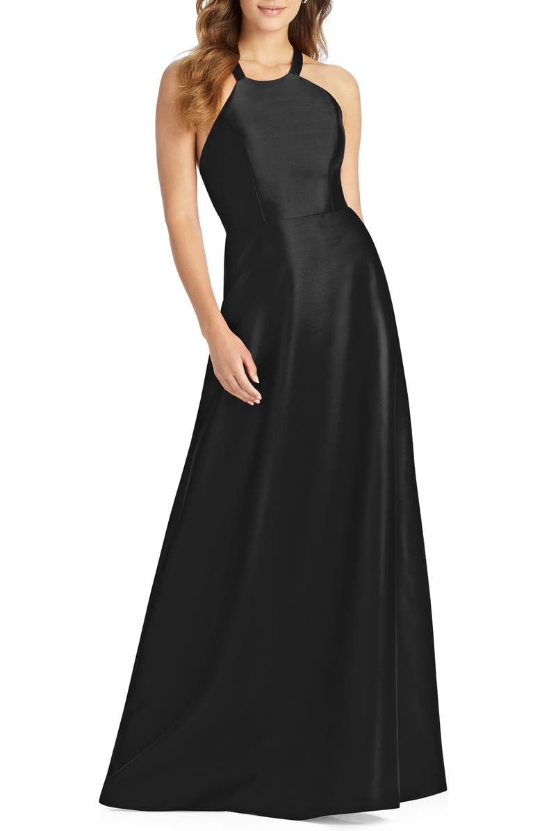 ALFRED SUNG Lace-Up Back Sateen Twill Gown, Main, color, BLACK