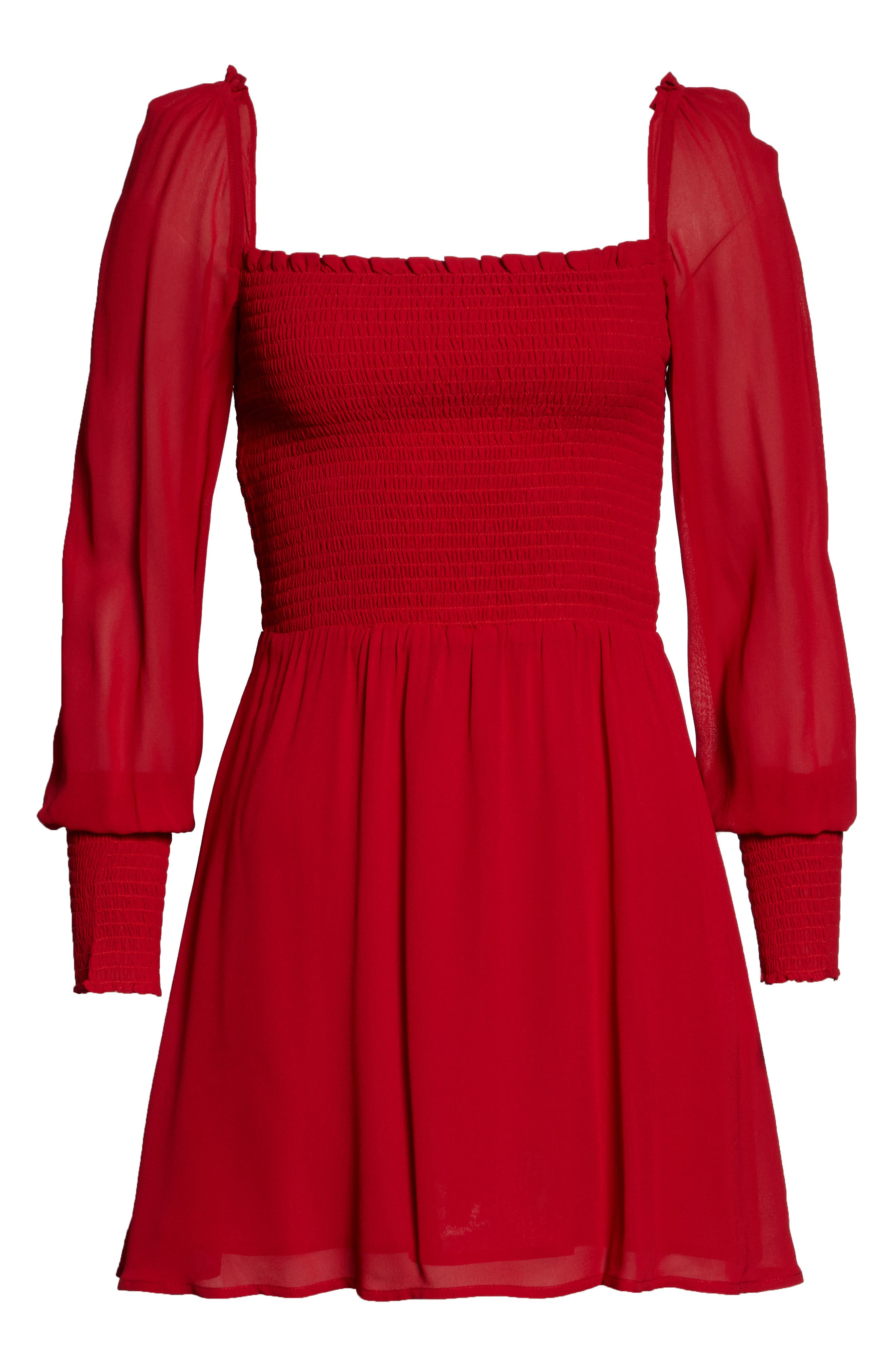 ,                             Kelli Smocked Bodice Fit & Flare Minidress,                             Alternate thumbnail 11, color,                             600