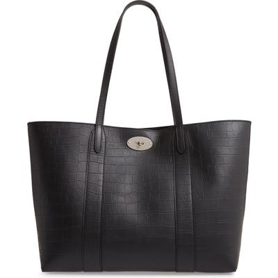 Mulberry Bayswater Matte Croc Embossed Leather Tote & Pouch - Black