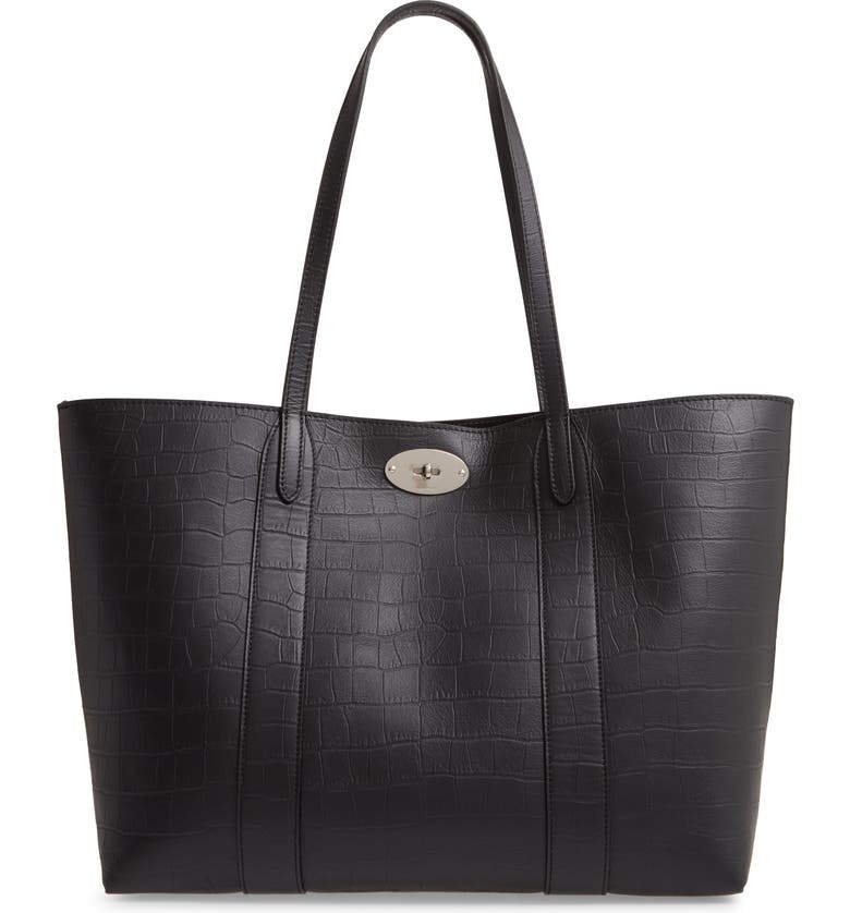 MULBERRY Bayswater Matte Croc Embossed Leather Tote & Pouch, Main, color, BLACK