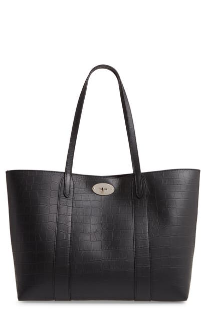 Mulberry Totes BAYSWATER MATTE CROC EMBOSSED LEATHER TOTE & POUCH - BLACK