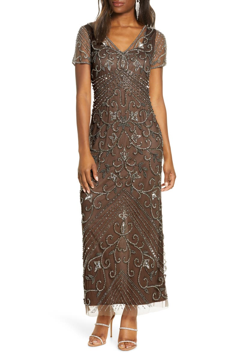 PISARRO NIGHTS Beaded Mesh Column Gown, Main, color, MOCHA