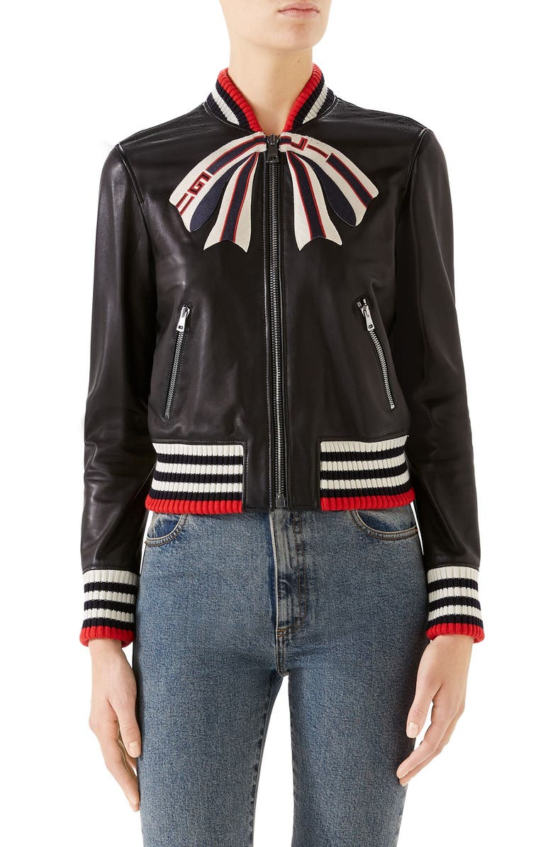 GUCCI Bow Leather Bomber Jacket, Main, color, BLACK/ MULTICOLOR