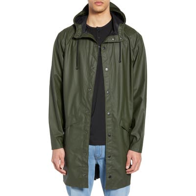Rains Waterproof Hooded Long Rain Jacket, Green