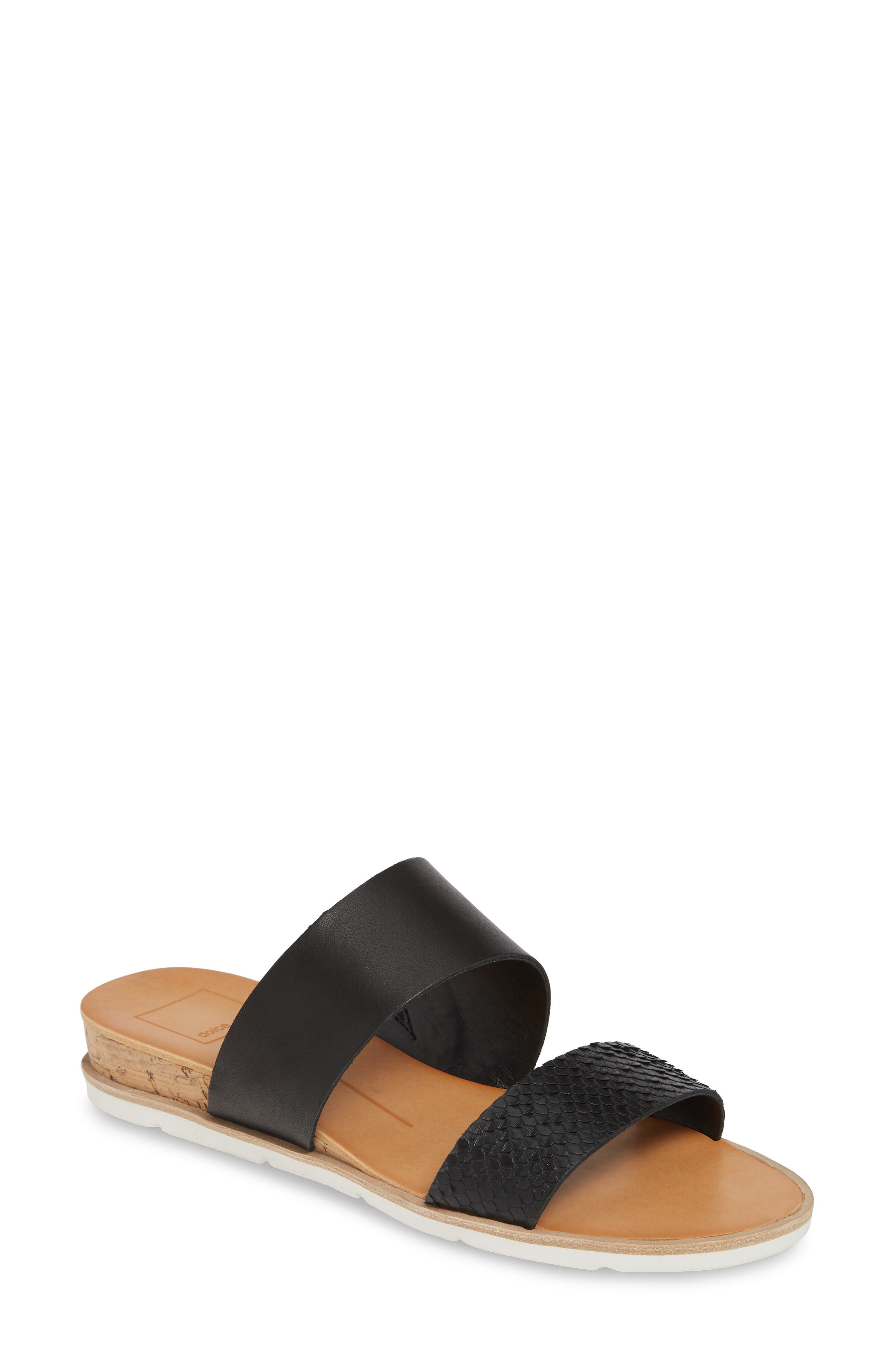 ,                             Vala Wedge Slide Sandal,                             Main thumbnail 1, color,                             BLACK LEATHER