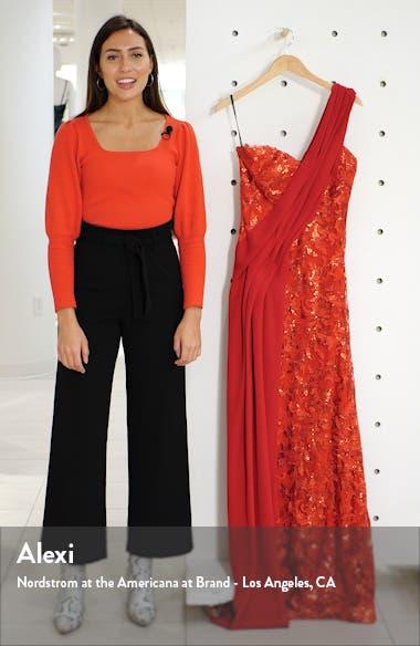 One-Shoulder Sequin Lace & Crepe Gown, sales video thumbnail