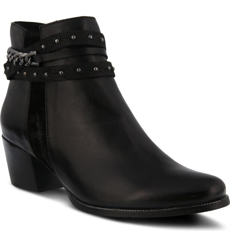 SPRING STEP Persela Bootie, Main, color, BLACK LEATHER