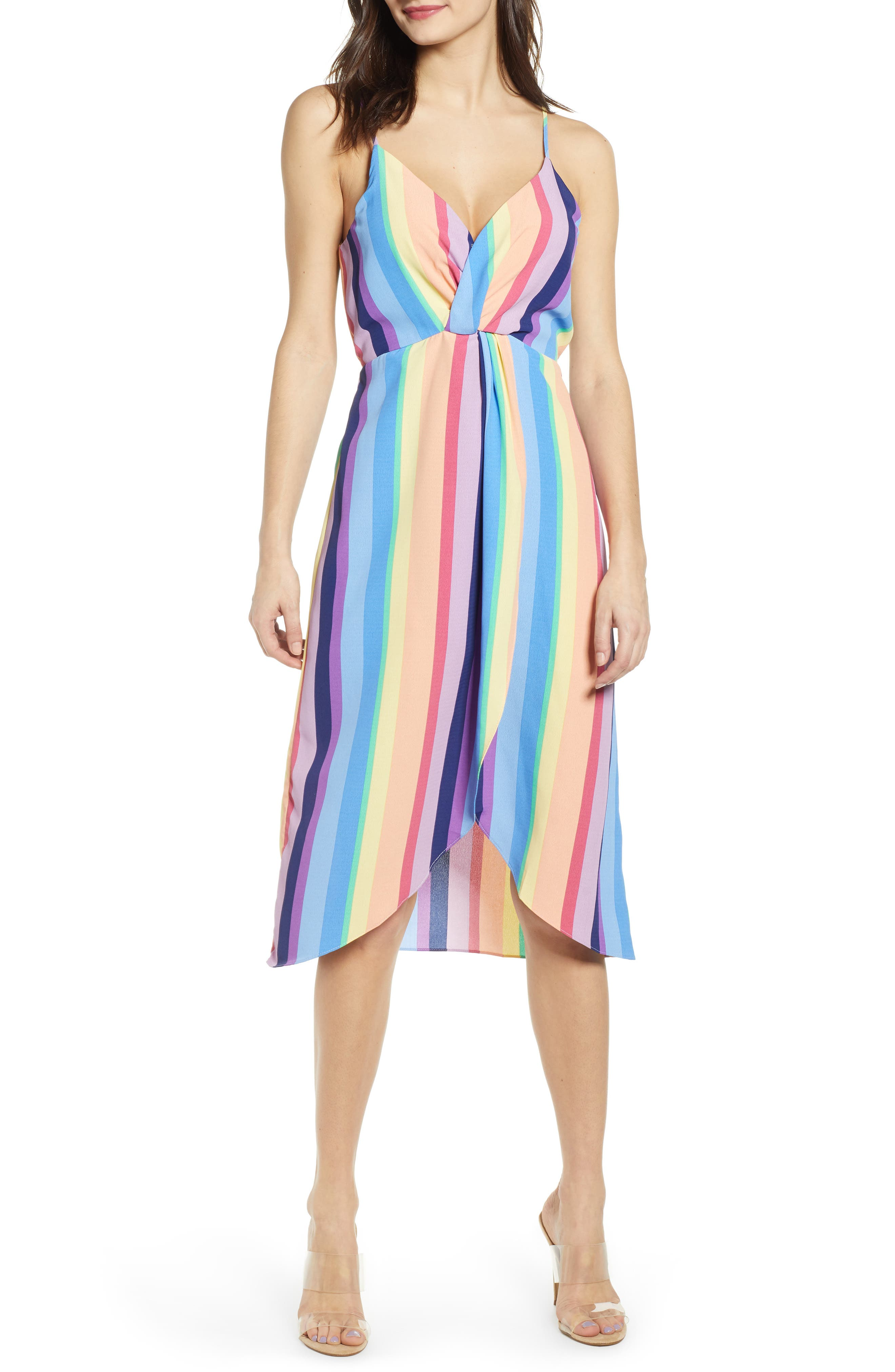 J.o.a. Rainbow Stripe Dress, Purple