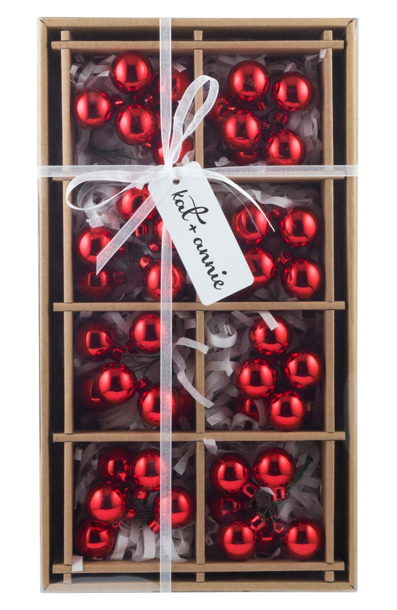 KAT + ANNIE Set of 8 Cluster Ball Ornaments, Main, color, RED