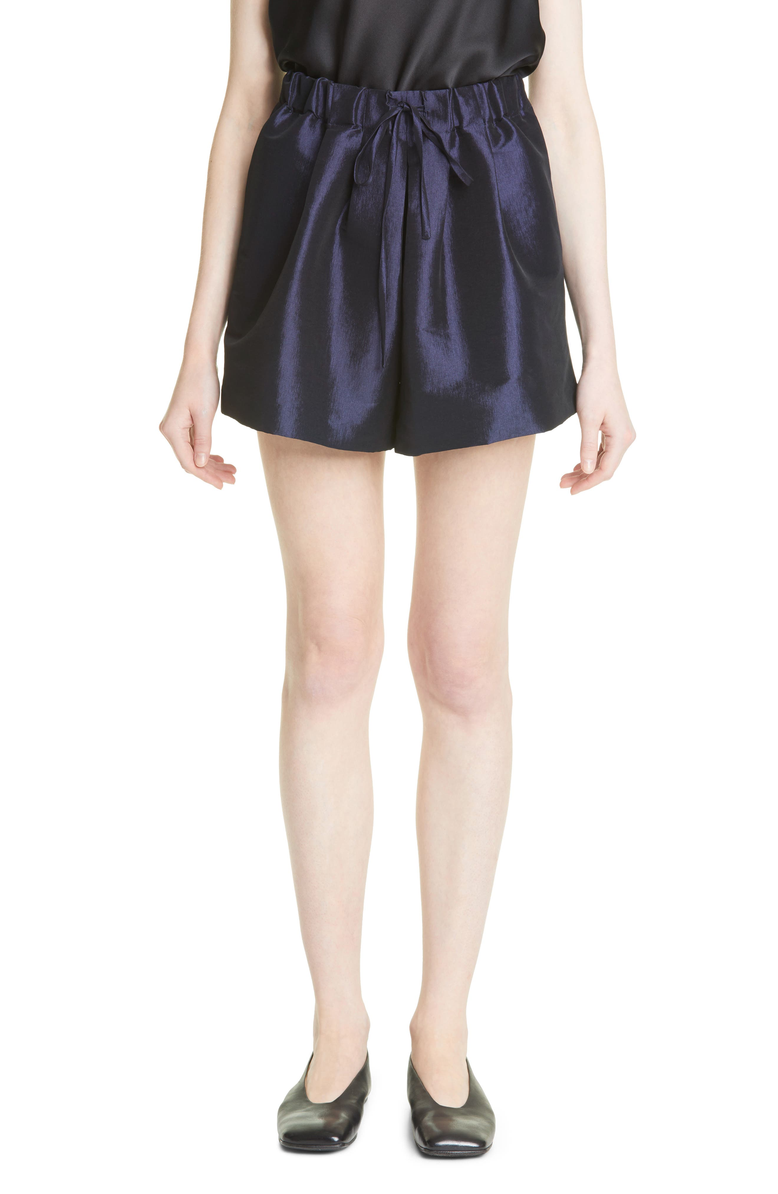 Silk Blend Drawstring Shorts