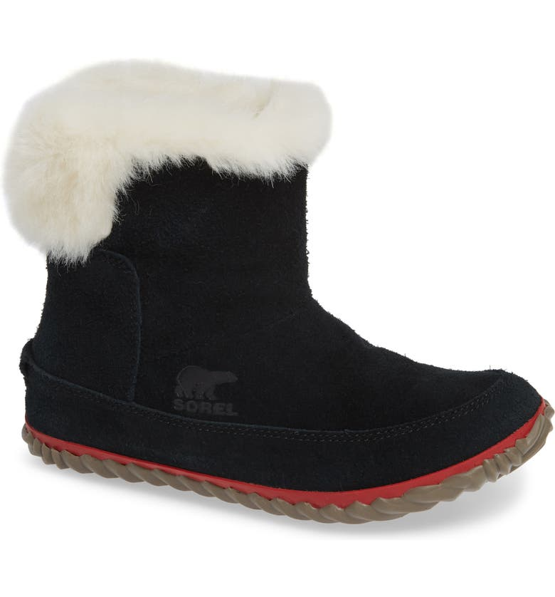 SOREL Out 'N About Waterproof Bootie with Faux Fur Trim, Main, color, 010