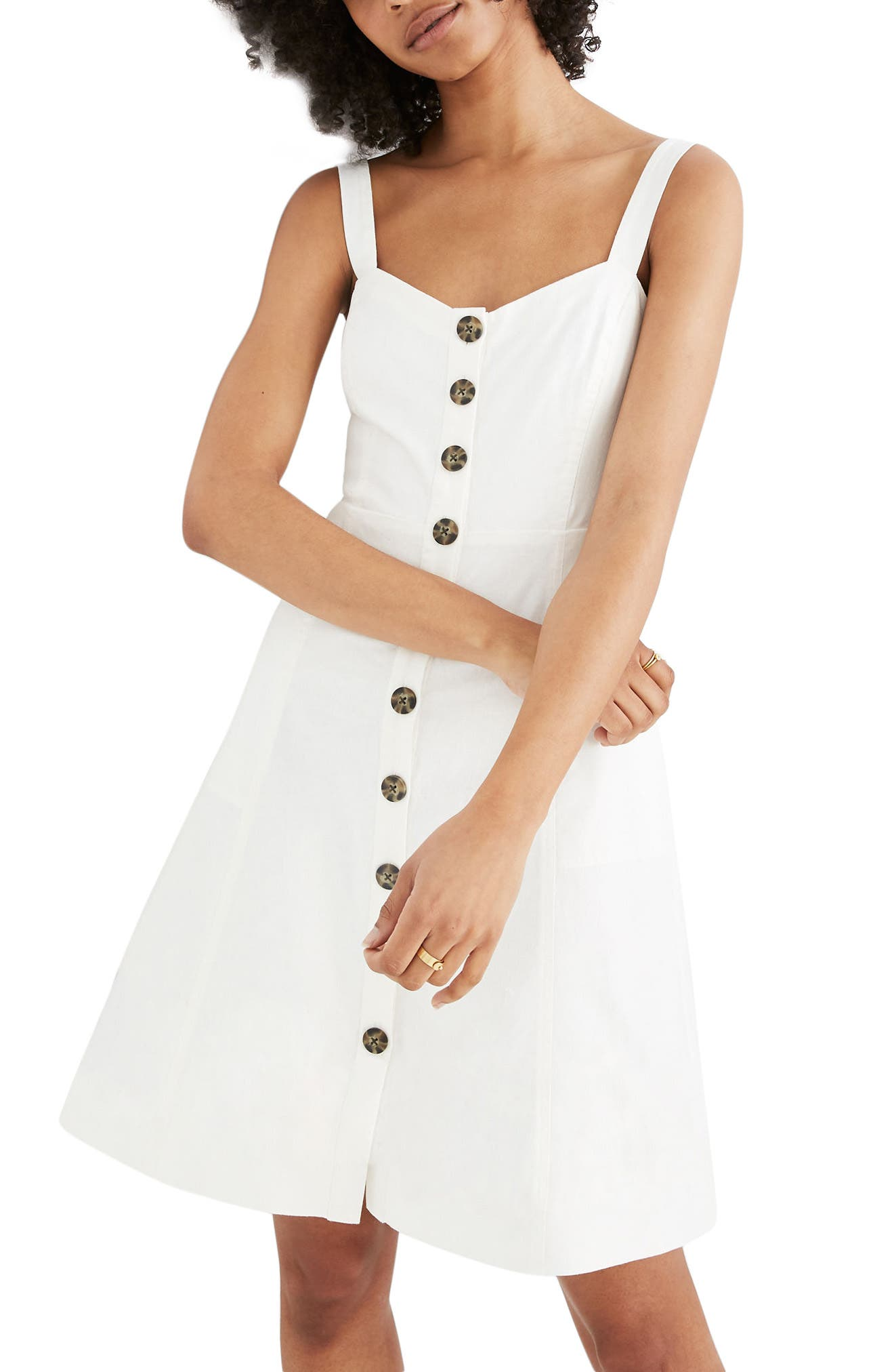 Madewell Button Front Tank Dress, White