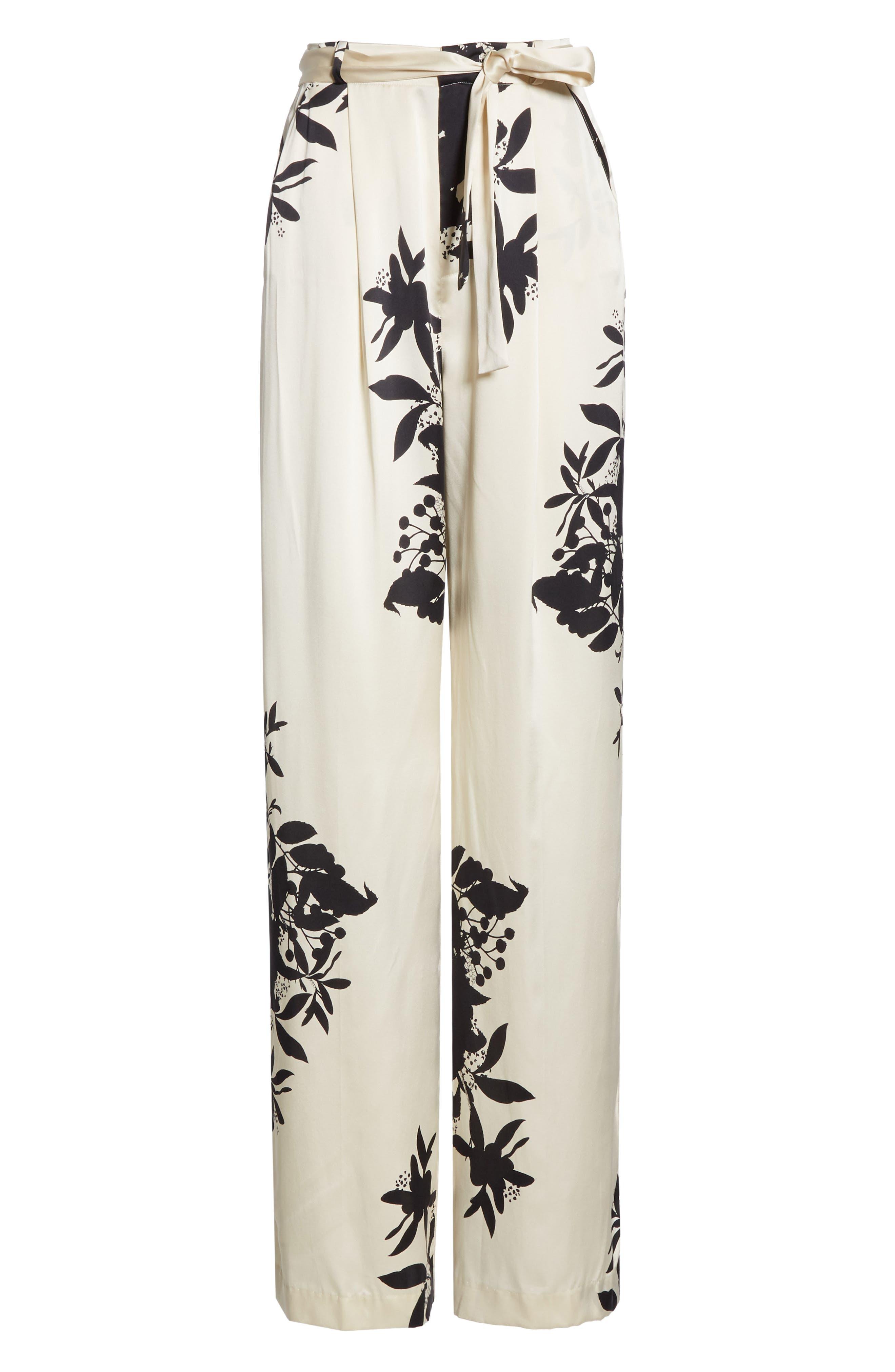 ,                             Evonne Tie Waist Silk Blend Pants,                             Alternate thumbnail 7, color,                             ECRU TRUE