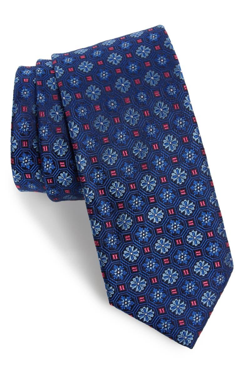 TED BAKER LONDON Medallion Flower Silk Tie, Main, color, BLUE