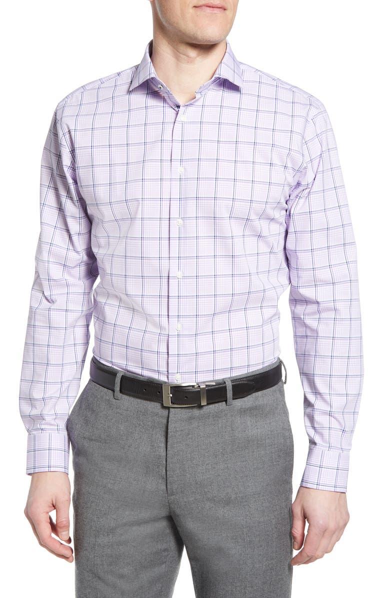NORDSTROM MEN'S SHOP Tech-Smart Trim Fit Stretch Plaid Dress Shirt, Main, color, PURPLE BETTA TONAL PLAID