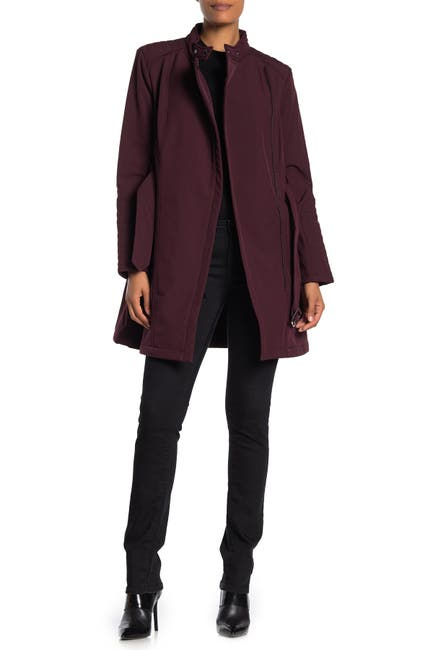Image of Kenneth Cole New York Soft Shell Asymmetrical Zip Belted Coat