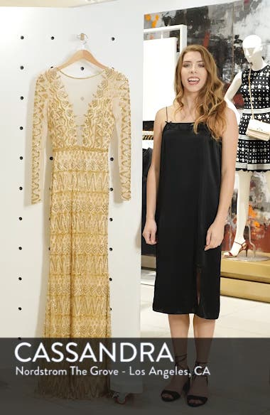 Beaded Capelet Sleeve Column Gown, sales video thumbnail