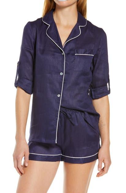 Homebodii Long Sleeve Linen Short Pajamas In Navy