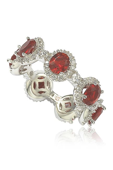 Image of Suzy Levian Sterling Silver Prong Set Red CZ & Pave Halo Station Eternity Band Ring