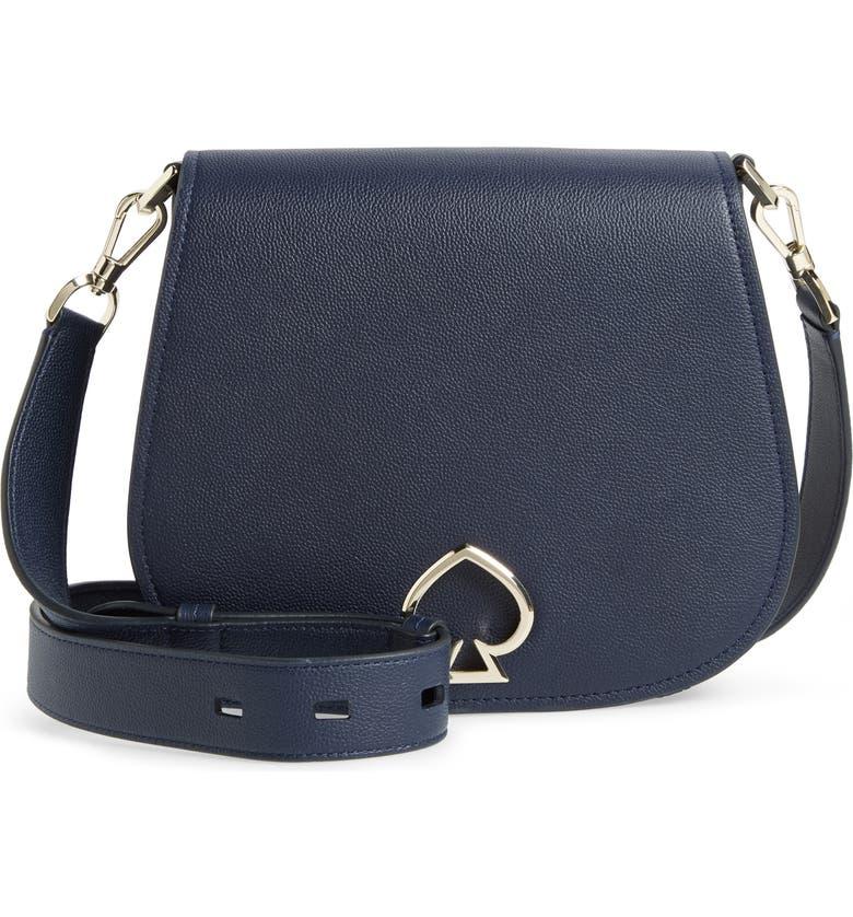 KATE SPADE NEW YORK large suzy leather saddle bag, Main, color, BLAZER BLUE