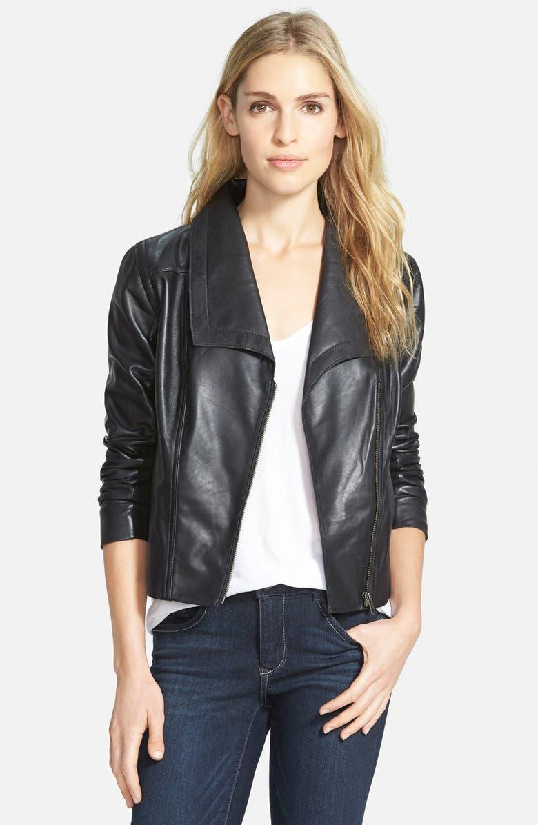 CASLON<SUP>®</SUP> Drape Collar Leather Jacket, Main, color, 001