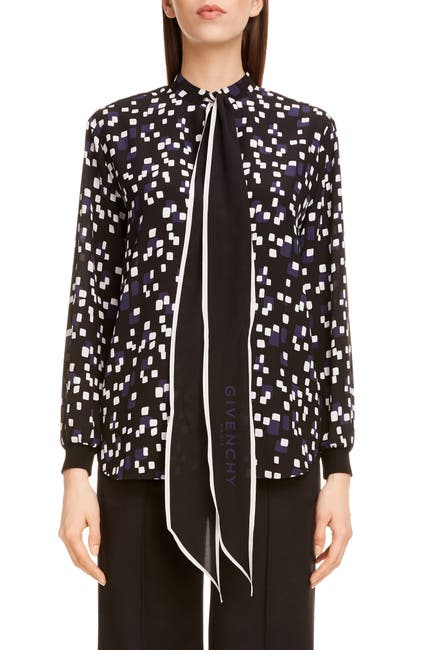 Image of Givenchy Square Print Logo Tie Neck Silk Blouse