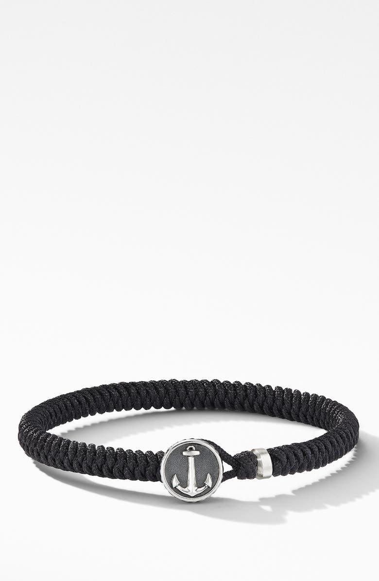 DAVID YURMAN Maritime<sup>®</sup> Anchor Station Black Nylon Bracelet, Main, color, SILVER/BLACK