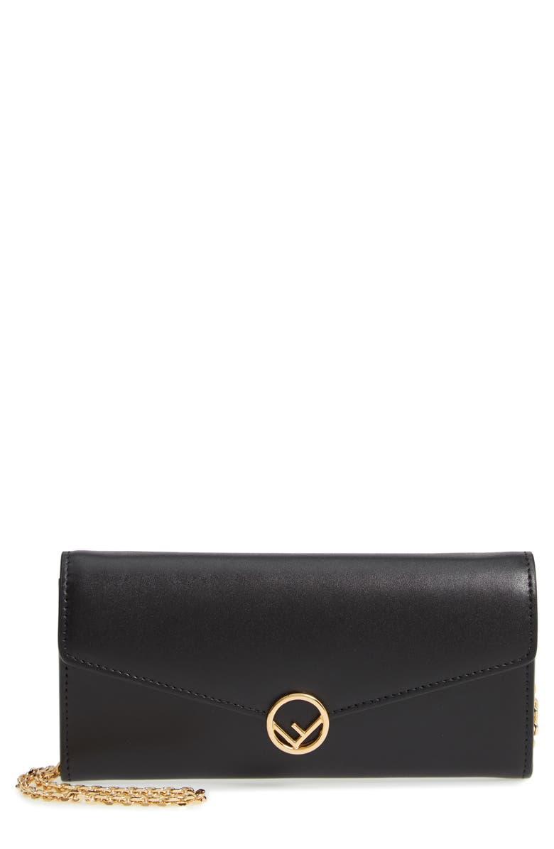 FENDI Liberty Logo Calfskin Leather Continental Wallet on a Chain, Main, color, NERO/ ORO SOFT