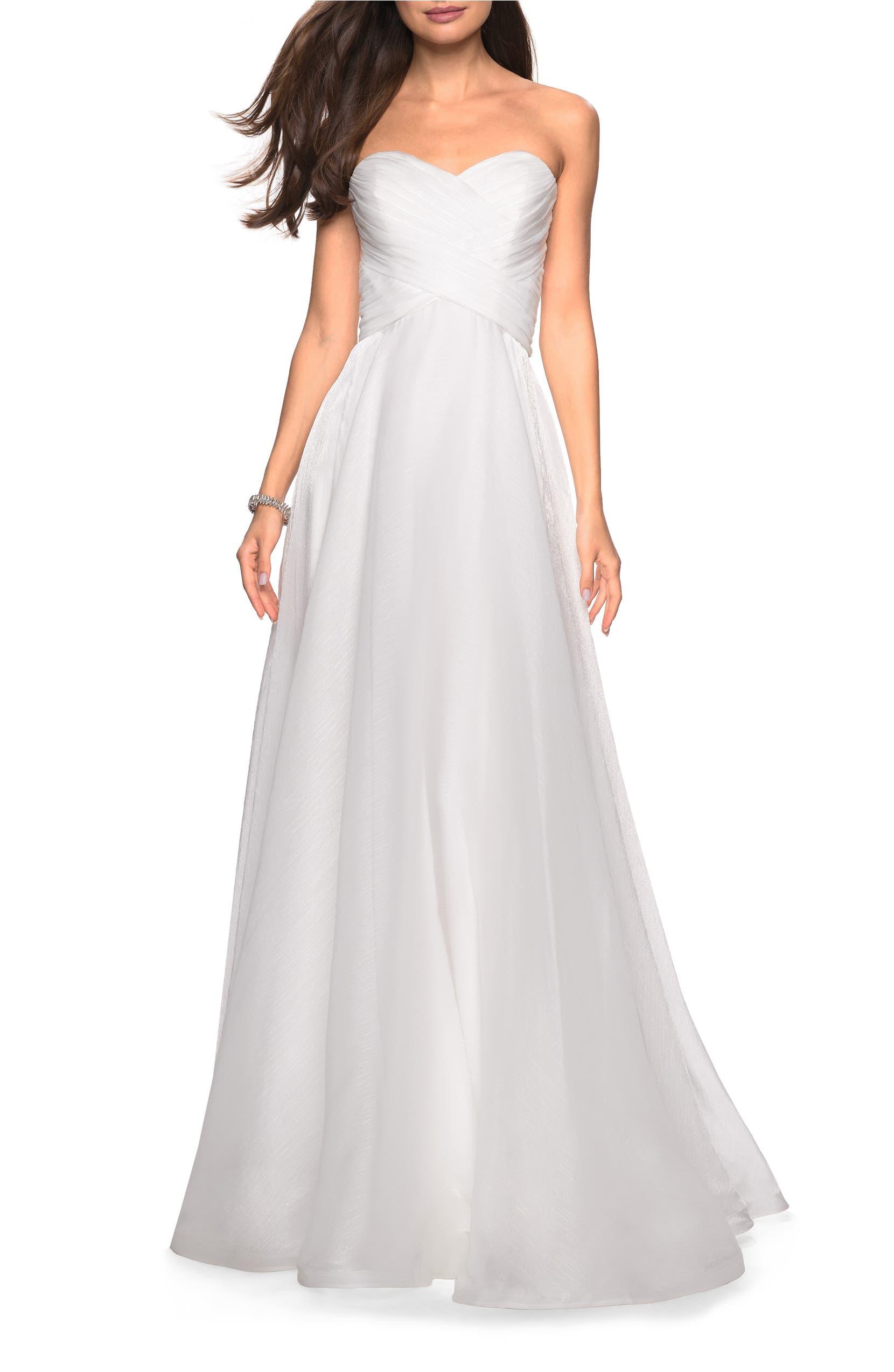 7a0afb66dca63 Strapless Metallic Chiffon Evening Dress