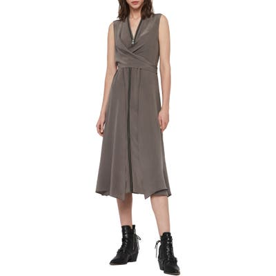 Allsaints Jayda Exposed Zip Sleeveless Silk Dress, Grey
