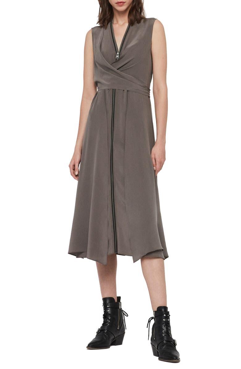 ALLSAINTS Jayda Exposed Zip Sleeveless Silk Dress, Main, color, BIRCH GREY