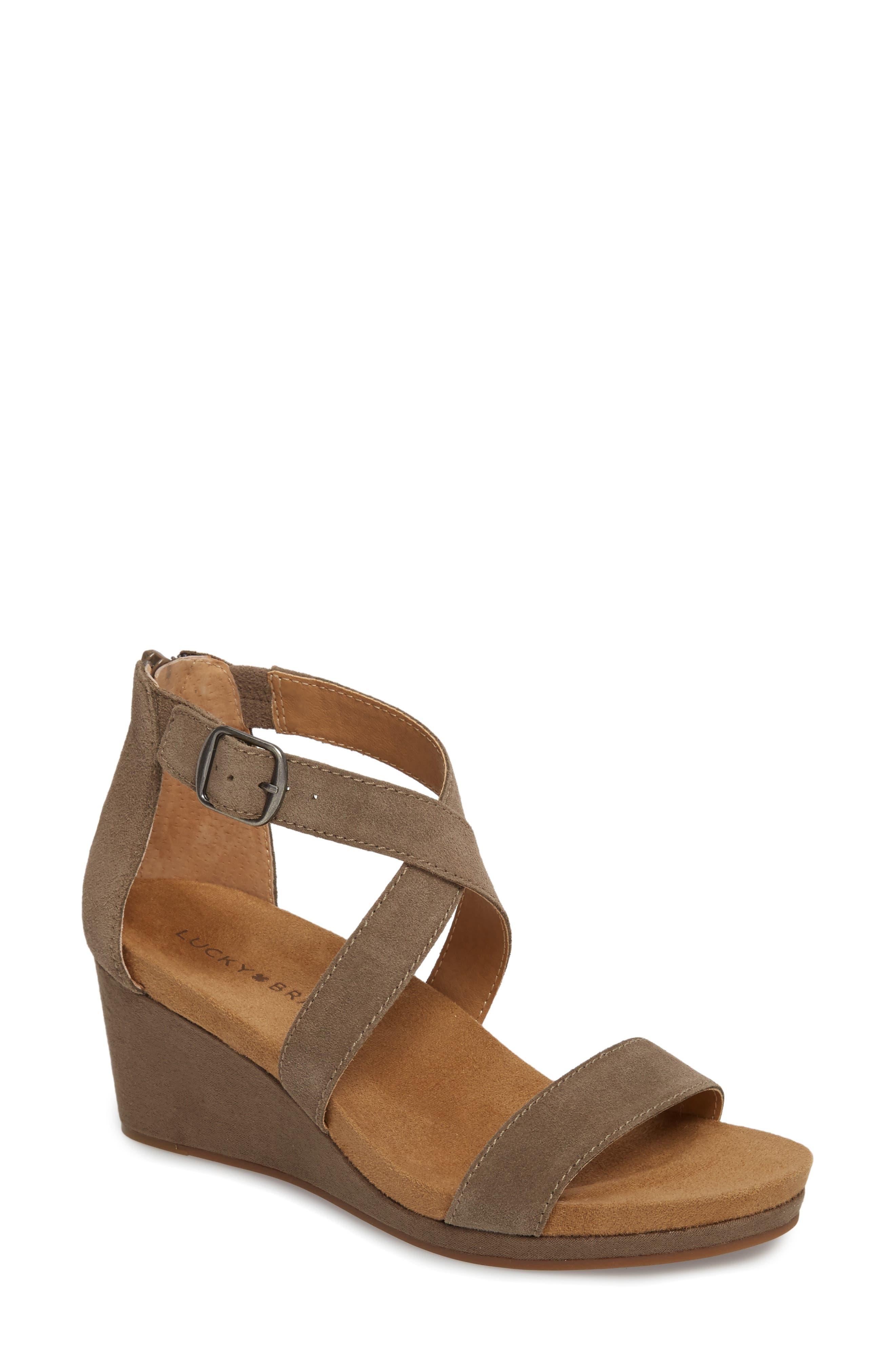 Kenadee Wedge Sandal, Main, color, BRINDLE SUEDE