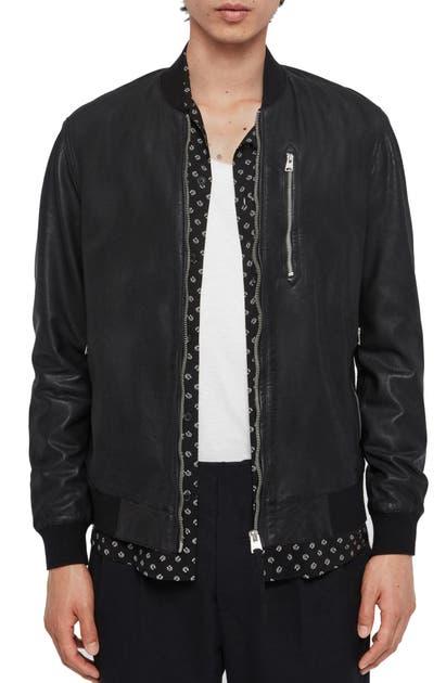 Allsaints Kino Leather Bomber Jacket In Black