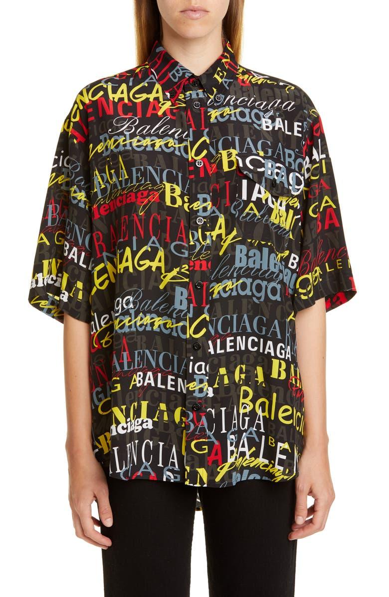 BALENCIAGA Allover Logo Shirt, Main, color, 001