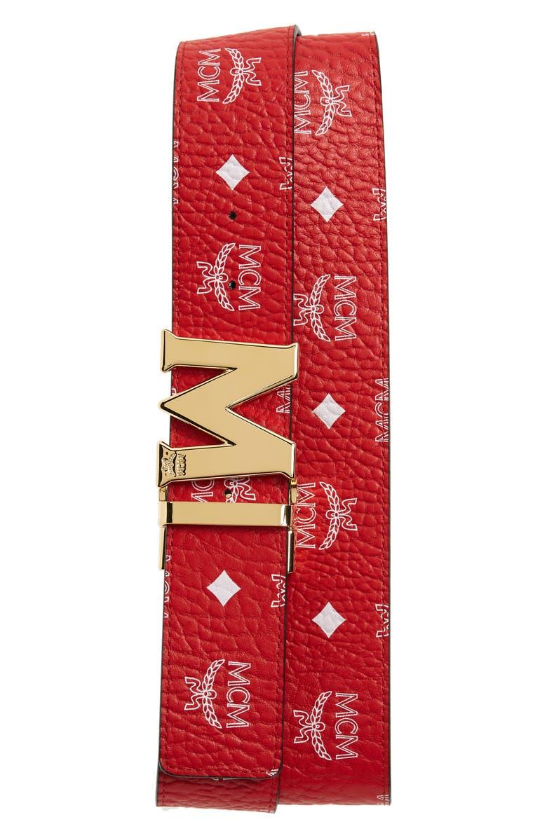 MCM Visetos Reversible Belt, Main, color, WHITE LOGO VIVA RED