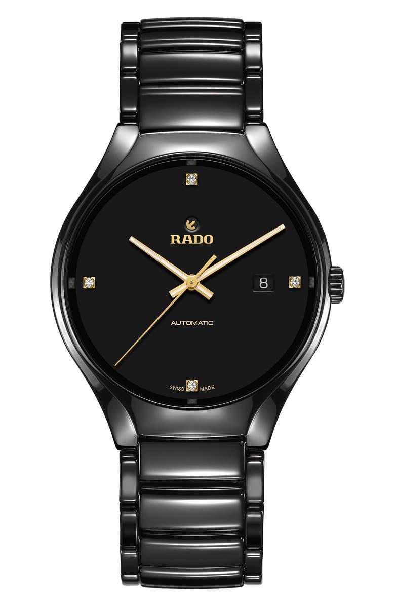RADO True Automatic Diamond Ceramic Bracelet Watch, 40mm, Main, color, 040