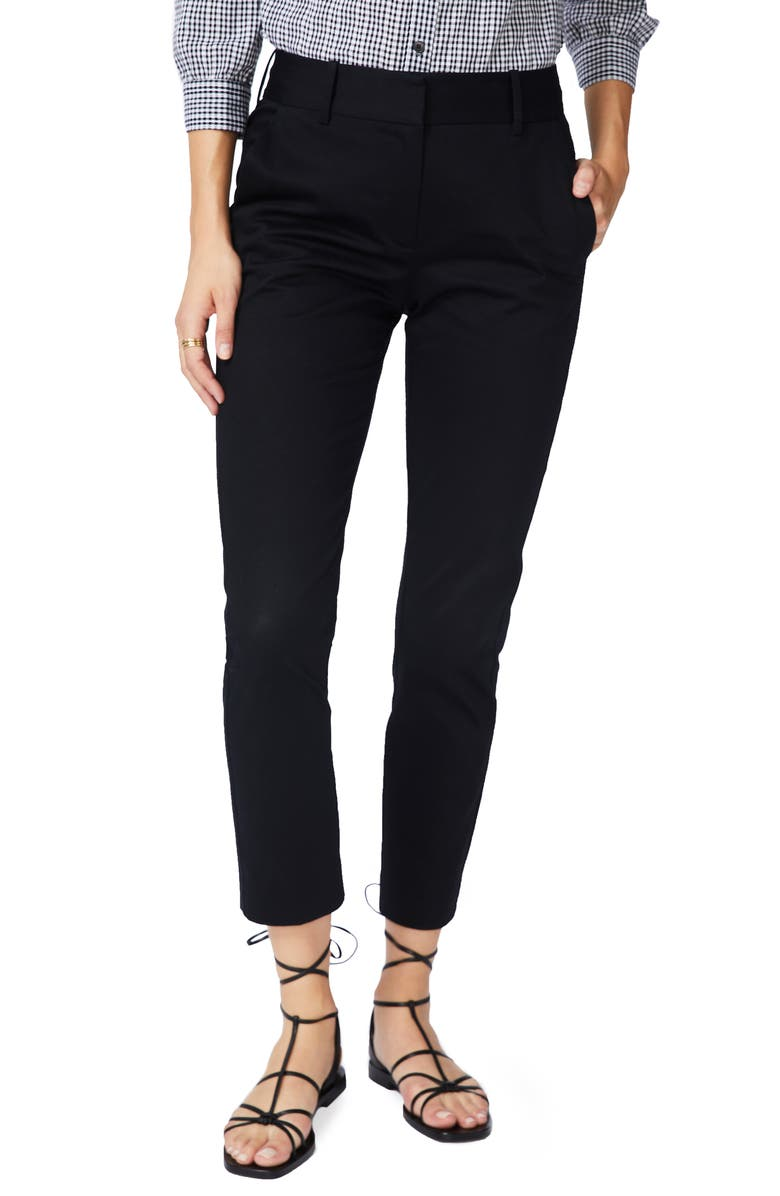 COURT & ROWE Stretch Cotton Twill Trousers, Main, color, RICH BLACK