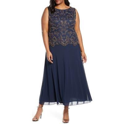 Plus Size Pisarro Nights Beaded Mock Two-Piece Gown, Blue